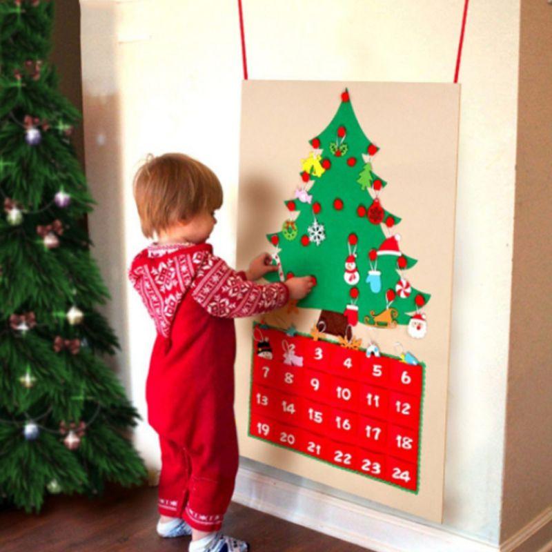 Felt Christmas Tree Advent Calendar for Kids 24 Days Countdo